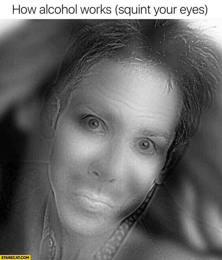 How alcohol works: squint your eyes optical illusion trick