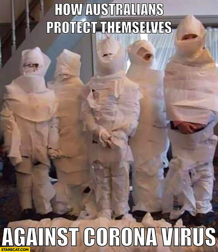 How Australians protect themselves against corona virus covered in toilet paper