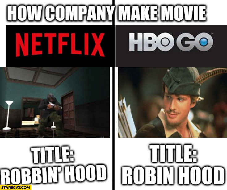How companies make movies Netflix vs HBO Robin Hood vs Robbin' hood