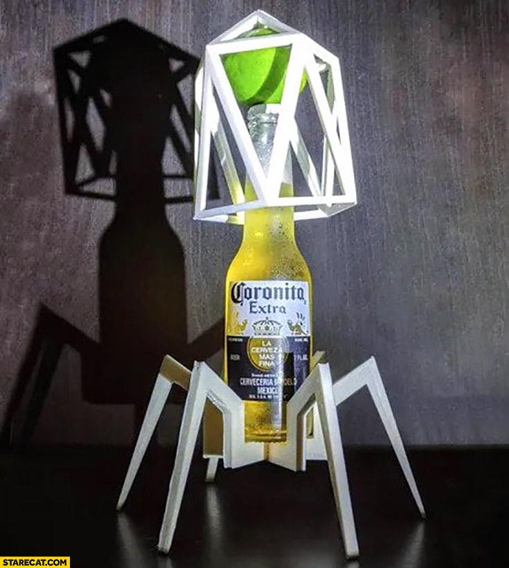 How corona virus looks like made of corona extra beer bottle