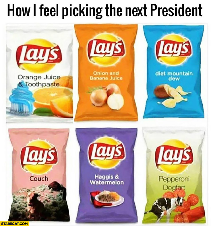 How I feel picking the next president – Lays flavours: orange juice & toothpaste, couch, onion and banana juice, haggis and watermelon, diet mountain dew, pepperoni dogfart
