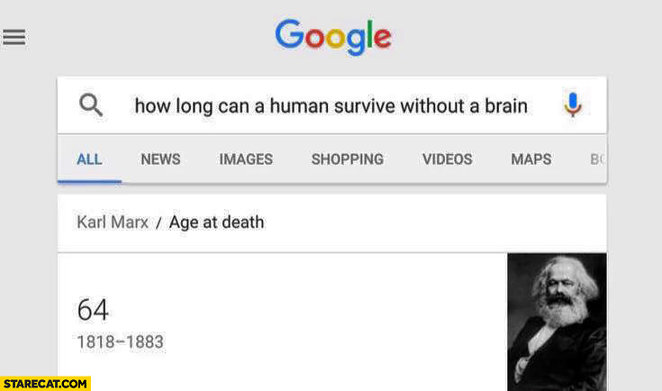 How long can a human survive without a brain? Karl Marx age at death 64 google search result
