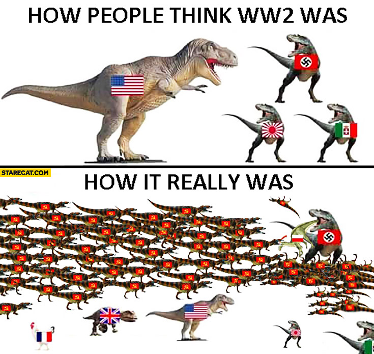 How people think World War 2 was, how it really was. WW2 explained on dinosaurs