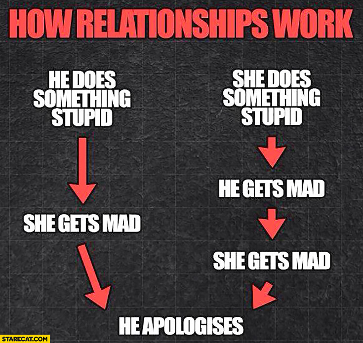 How relationships work: she does something stupid, he gets mad, she gets mad, he apologises graph