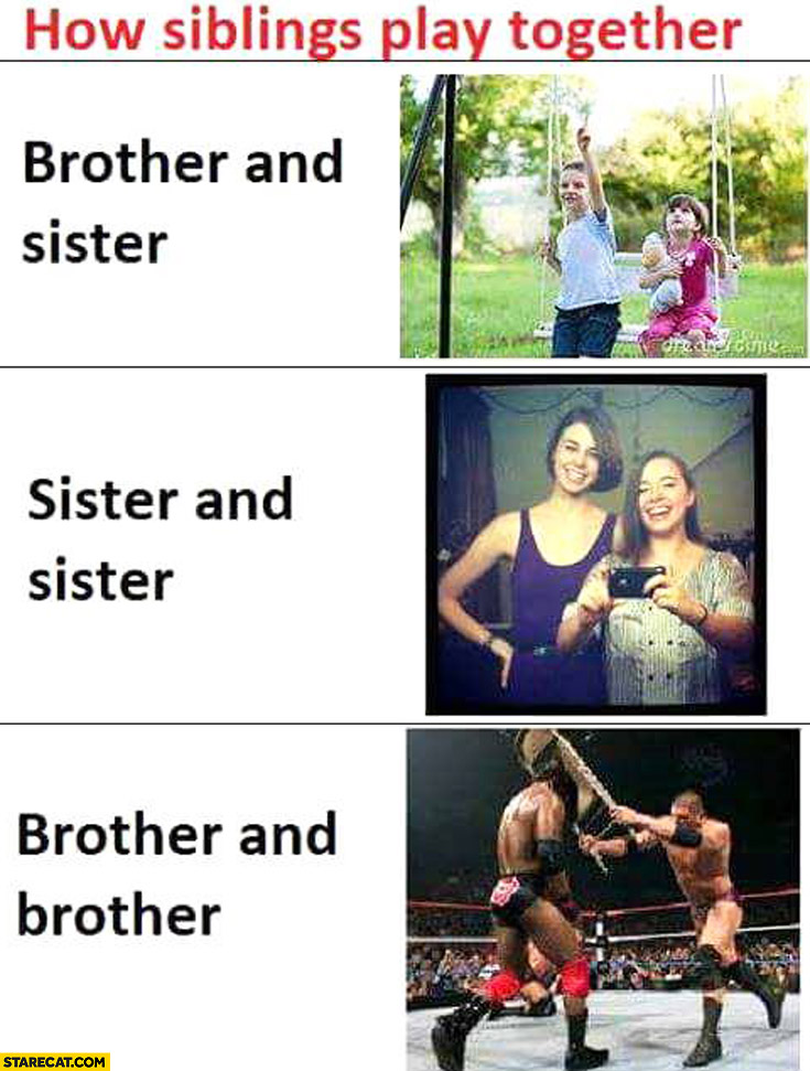 How siblings play together brother and sister, sister and sister, brother and brother