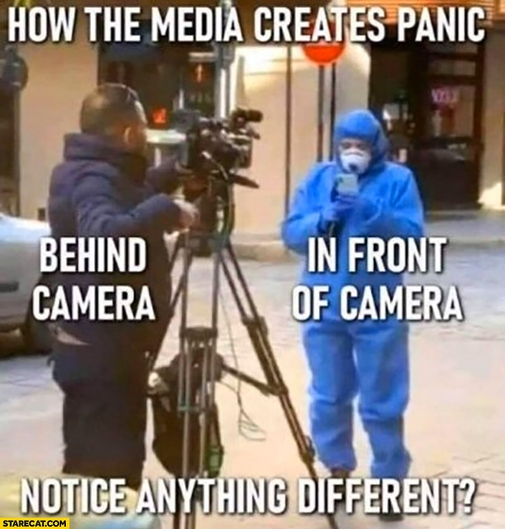 How the media creates panic covid coronavirus in front of camera full protection uniform vs behind camera casual clothes notice anything different