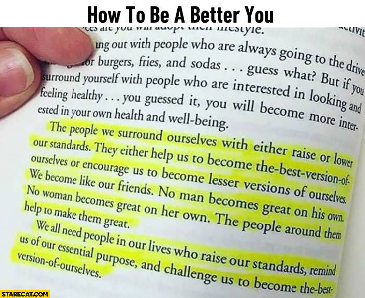 How to be a better you. Book quote highlighted