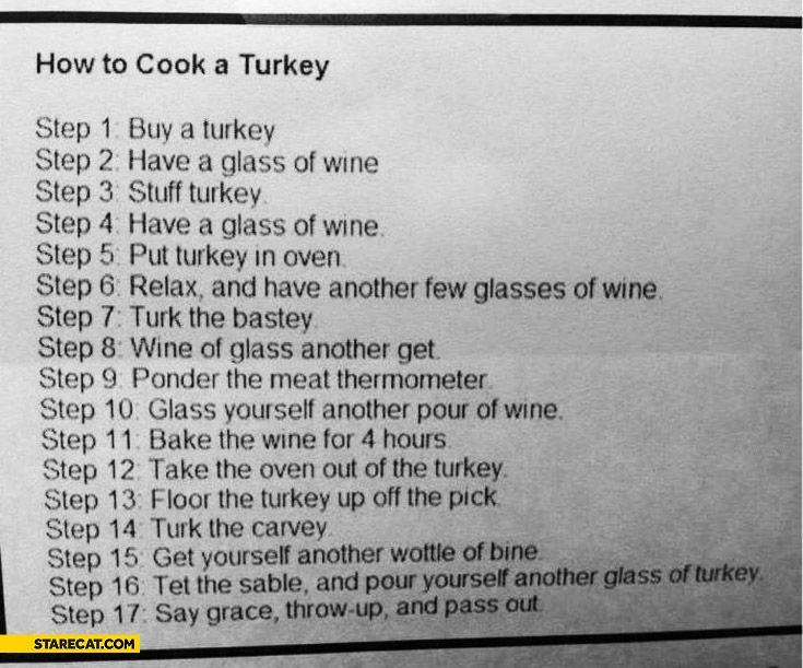How to cook a Turkey steps