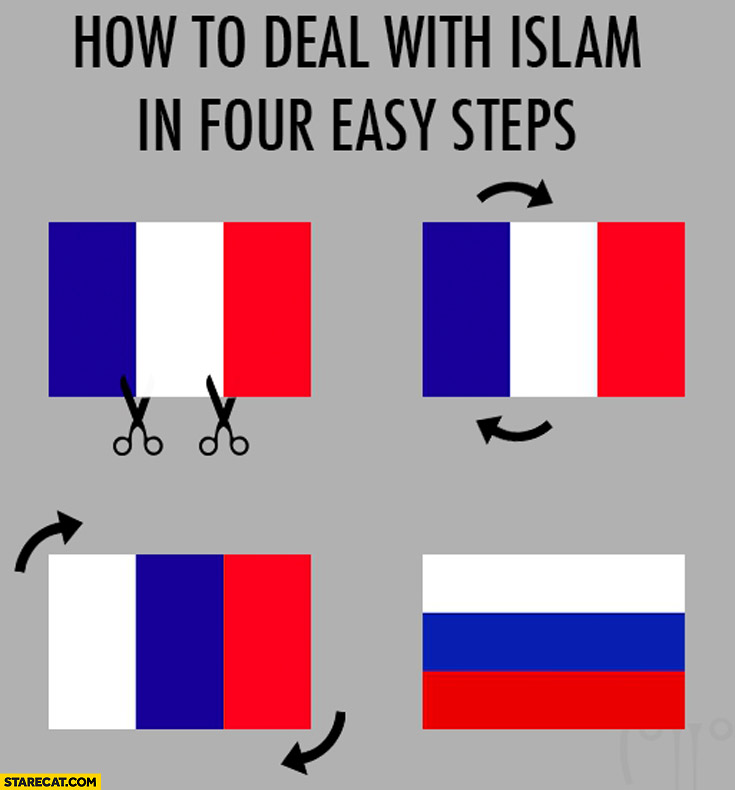 How to deal with islam in four easy steps: French flag into Russian flag
