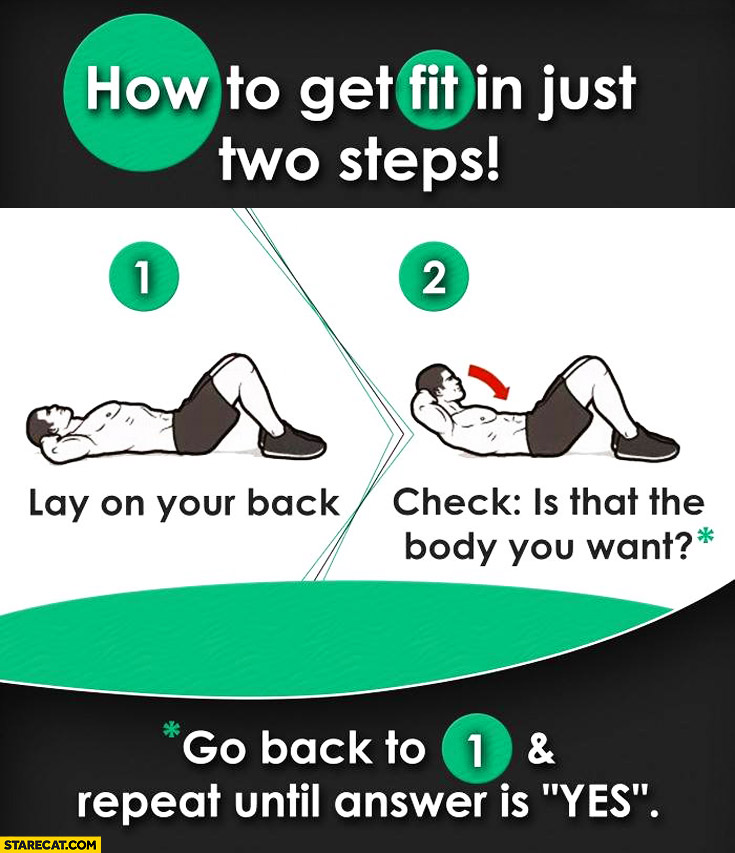 How to get fit in just two steps lay on your back check is that the body you want repeat until answer is yes