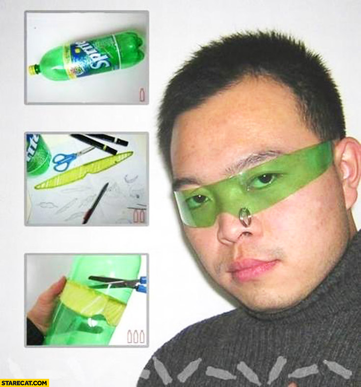 How to make green glasses out of Sprite bottle