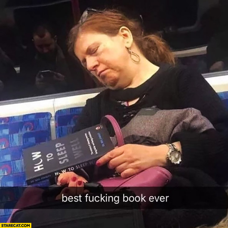 How to sleep well best book ever woman fell asleep on her commute