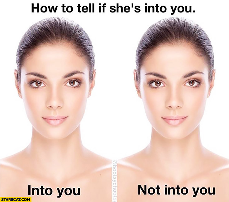 How to tell if she's into you: into you, not into you. Women comparison