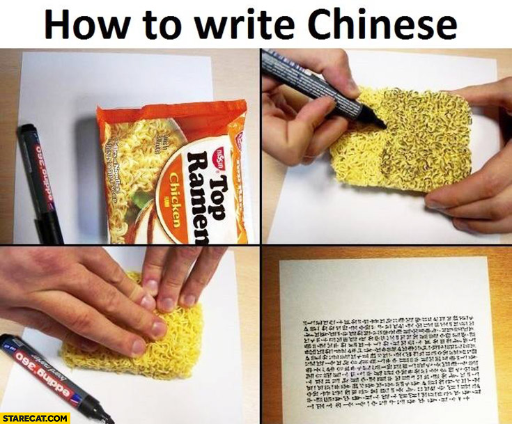 How to write Chinese use pasta from Chinese soup