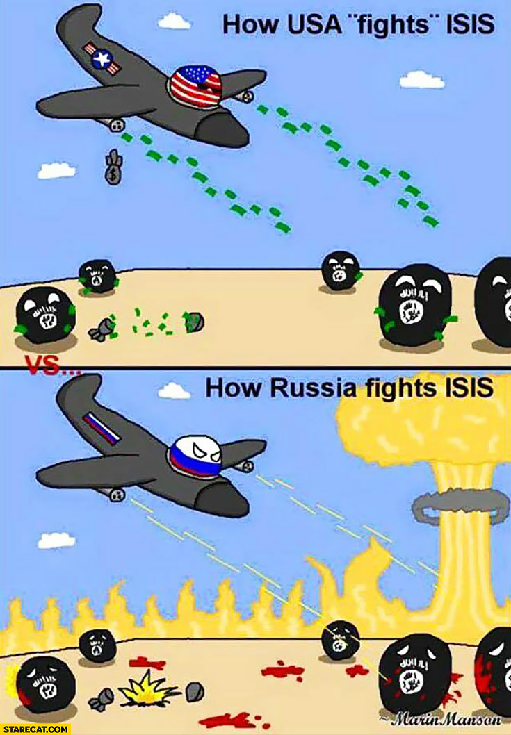 How USA fights ISIS: by droping cash, how Russia fights ISIS: by dropping bombs