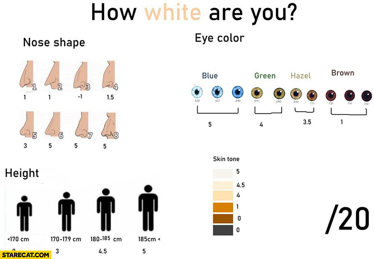 How white are you scale: nose, shape, eye color, height, skin color