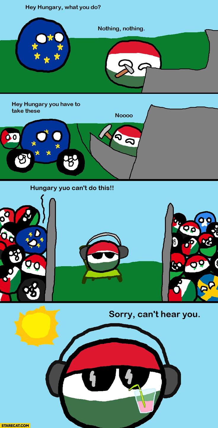 Hungary building a wall to avoid taking immigrants Polandball