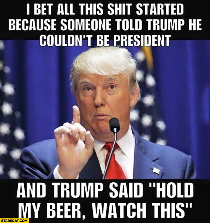 "I bet all this shit started because someone told Trump he couldn't be president and Trump said ""hold my beer watch this"""