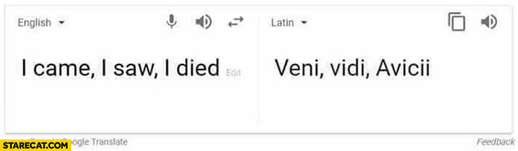 I came, I saw, I died – Veni, Vidi Avicii google translate