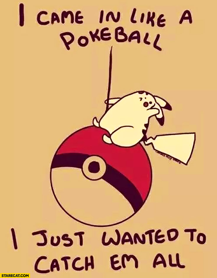 I came in like a pokeball, I just wanted to catch em all Pokemon Pikachu