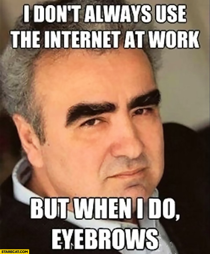 I don't always use the internet at work but when I do eyebrows