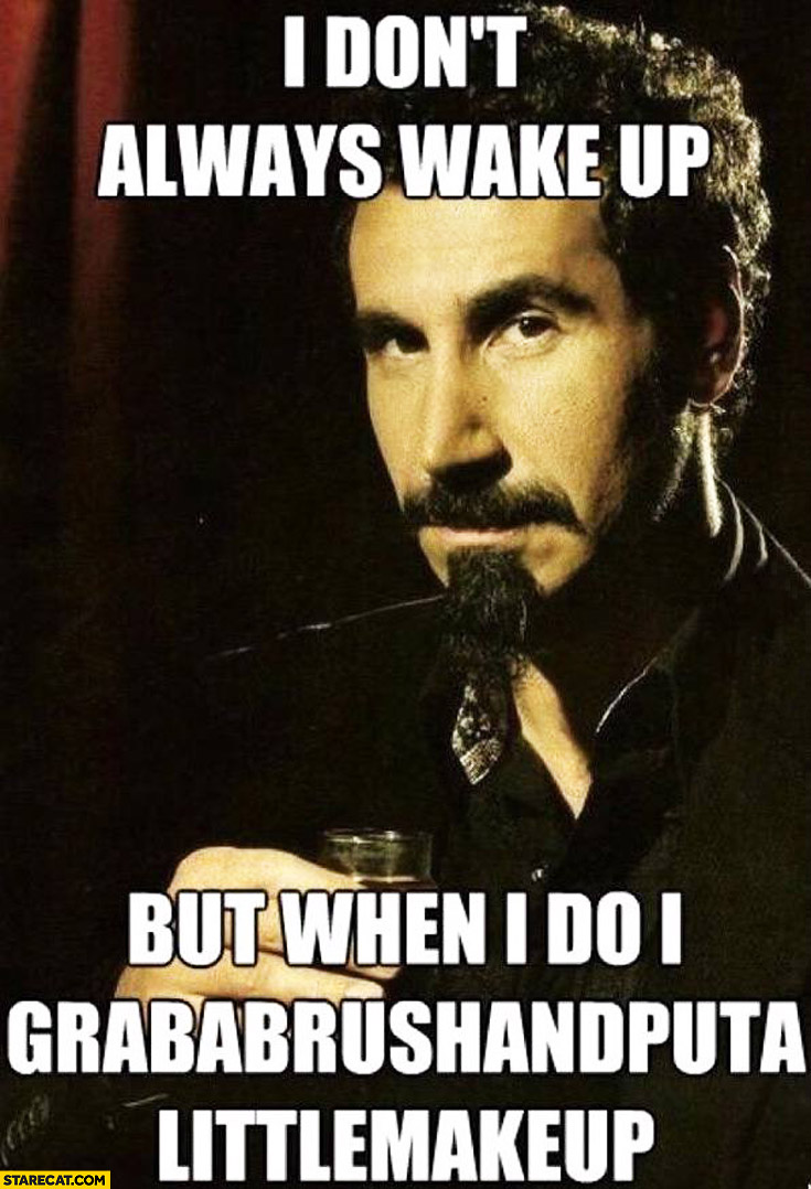 I don't always wake up but when I do I grab a brush and put a little make up Serj Tankian