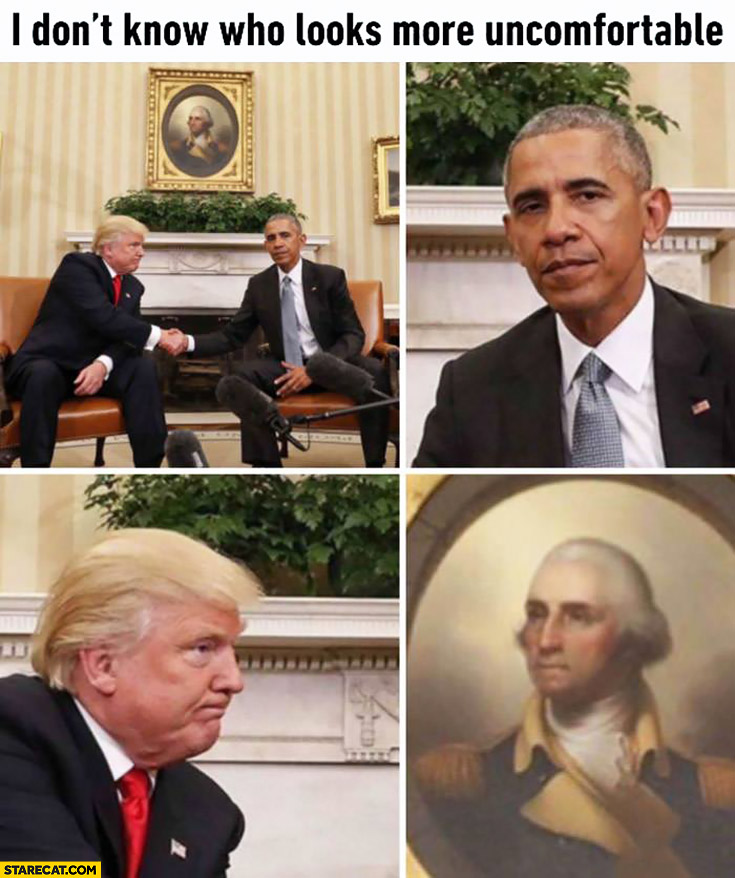 I don't know who looks more uncomfortable in this picture Obama Trump Washington