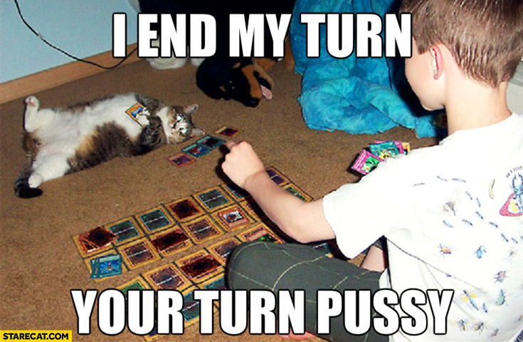 I end my turn your turn pussy cat