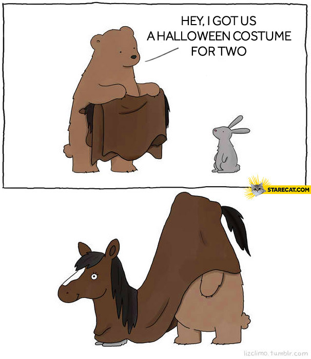 I got halloween costume for two bear rabbit bunny fail.