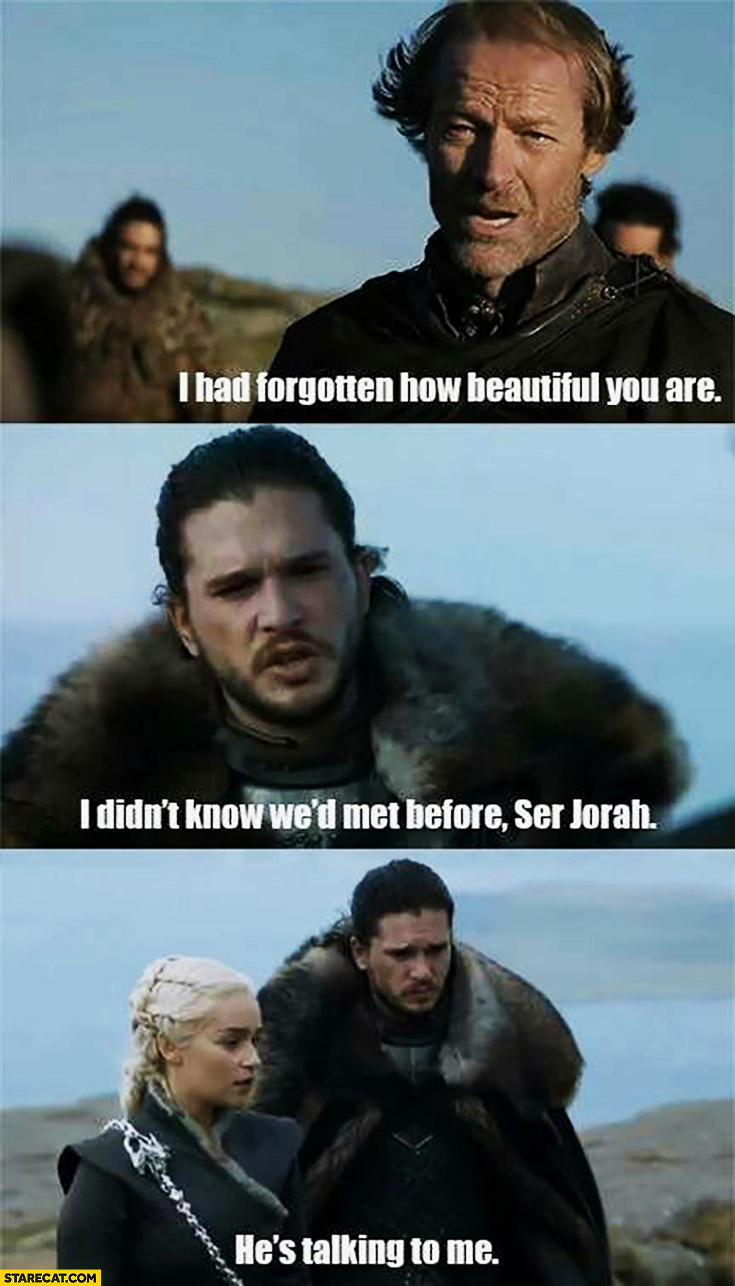 I had forgotten how beautiful you are, I didn't know we'd met before Sir Jorah. He's talking to me. Jon Snow Daenerys Game of Thrones