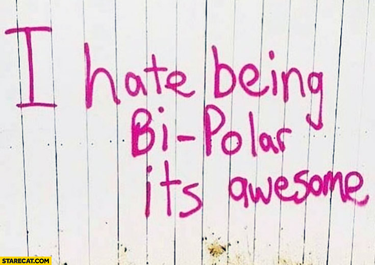 I hate being bi-polar it's awesome