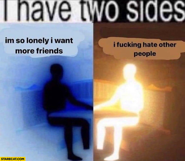 I have two sides: I'm so lonely I want more friends vs I fcking hate other people