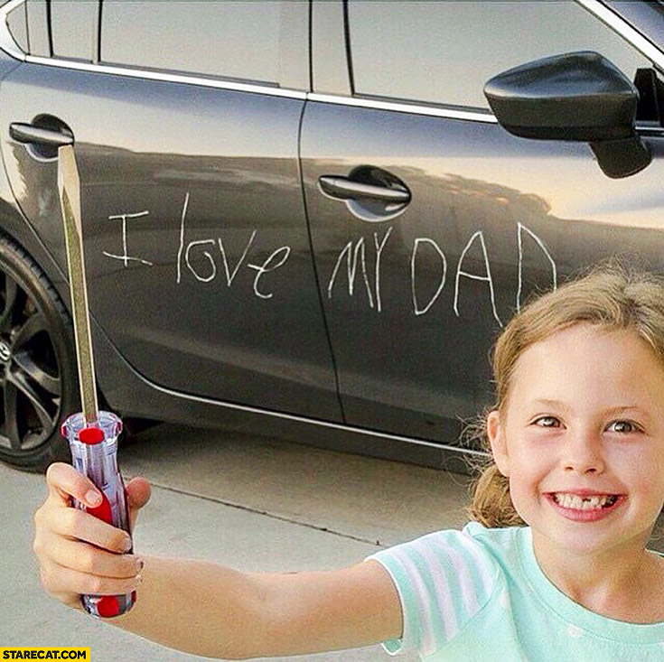 I love my dad on a car with a screwdriver daughter kid