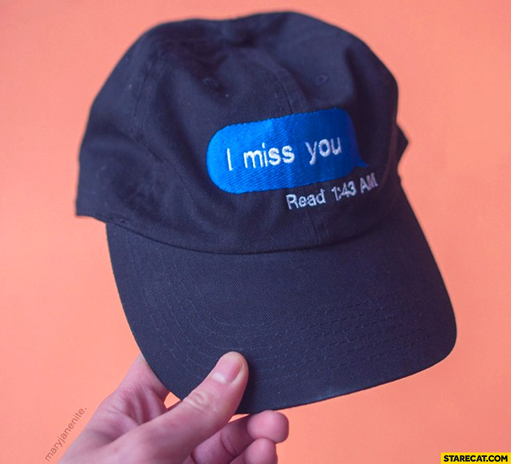 I miss you read facebook baseball hat