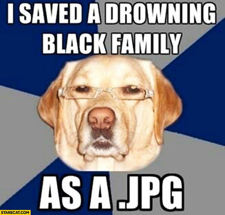 I saved a drowning family as a jpeg file dog meme