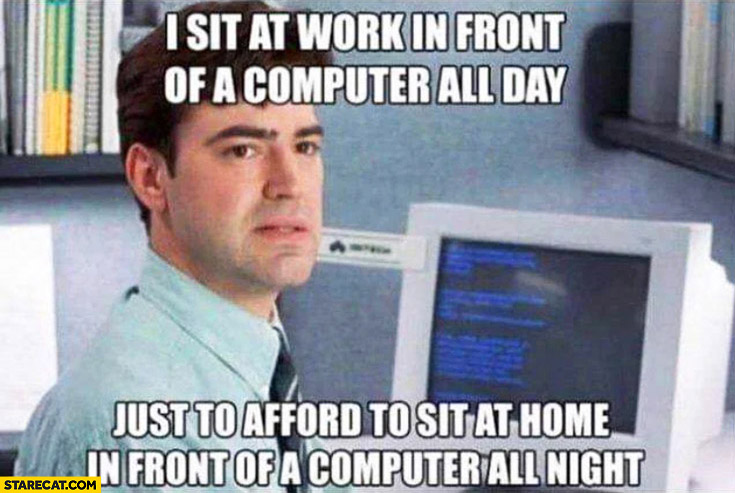 I sit at work in front of a computer all day just to afford to sit at home in front of a computer all night