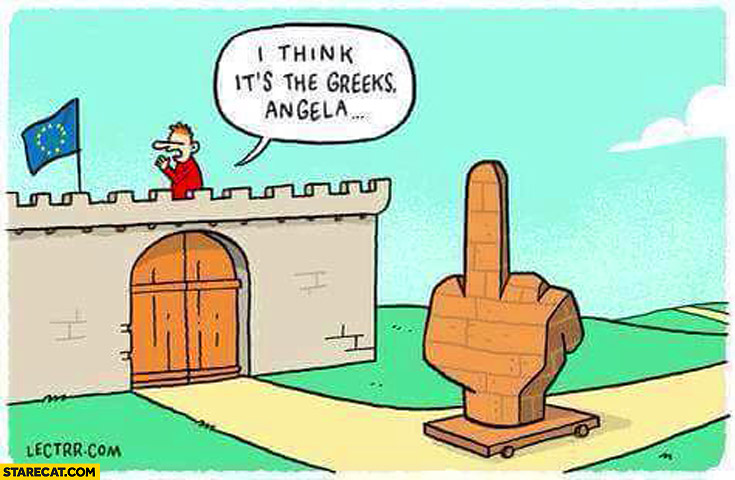 I think it's the greeks Angela middle finger trojan