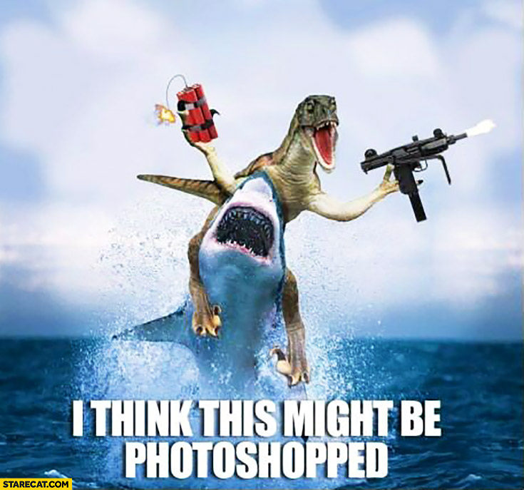 I think this might be photoshopped: dinosaur with a machine gun riding on a shark