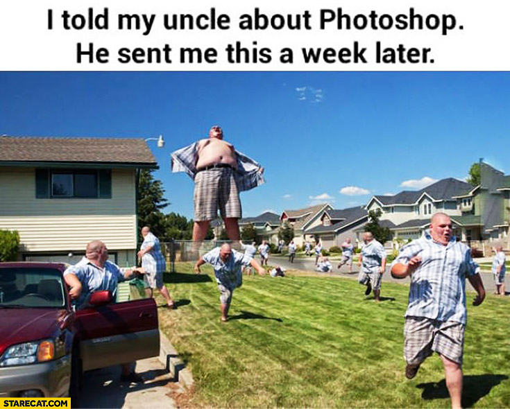 I told my uncle about Photoshop, he sent me this a week later. Creative photoshopped collage giant man monster