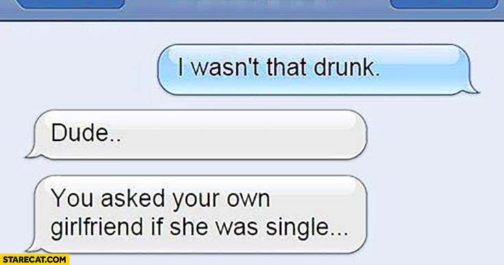 I wasn't that drunk. Dude, you asked your own girlfriend if she was single