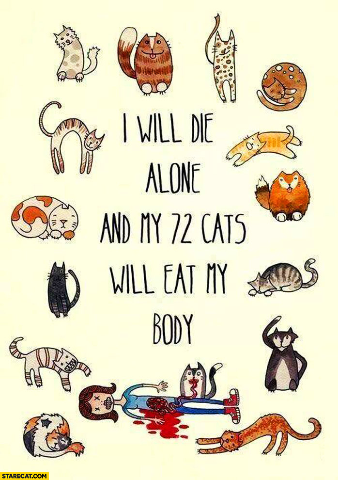 I will die alone and my 72 cats will eat my body