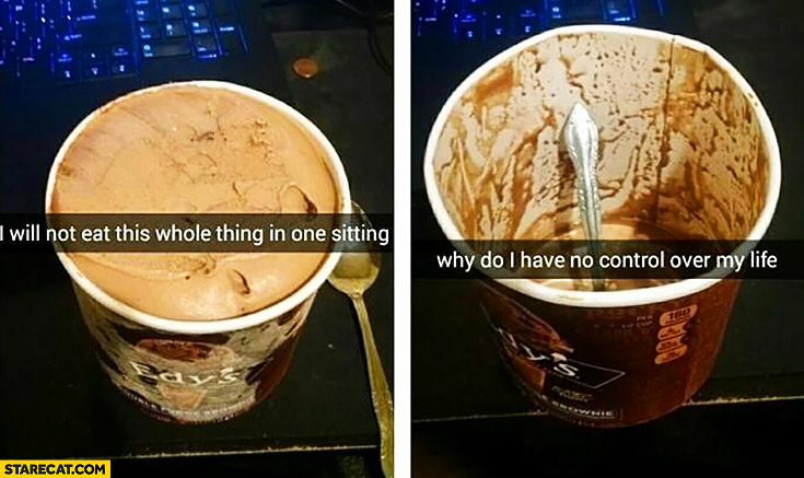I will not eat this whole thing in one sitting – ice-cream cup. Why do I have no control over my life?