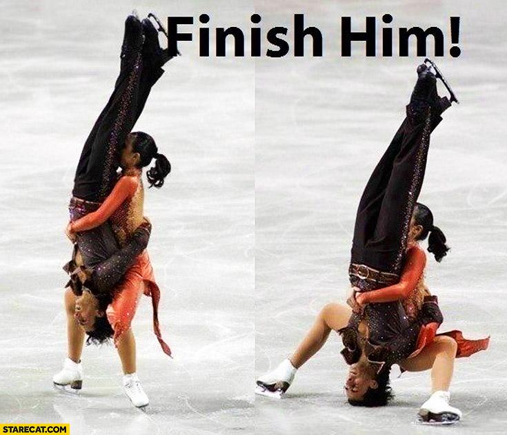 Ice skating dancing fail finish him