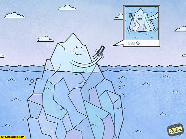 Iceberg cute selfie drawing