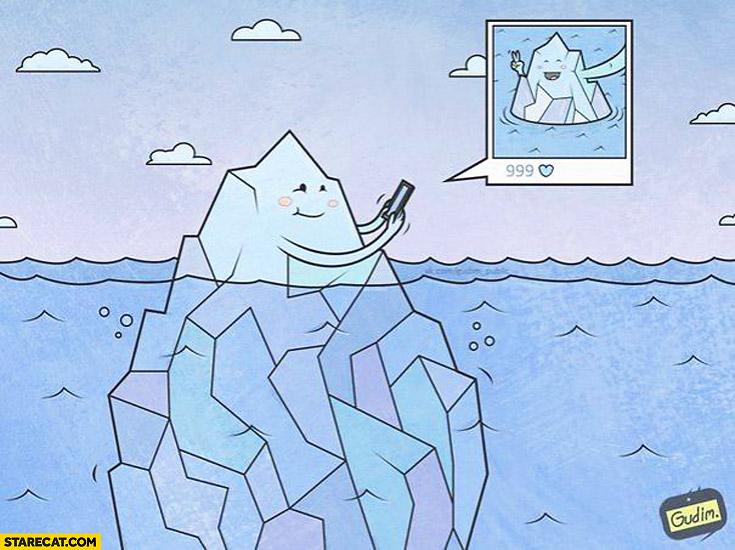 Iceberg cute selfie drawing