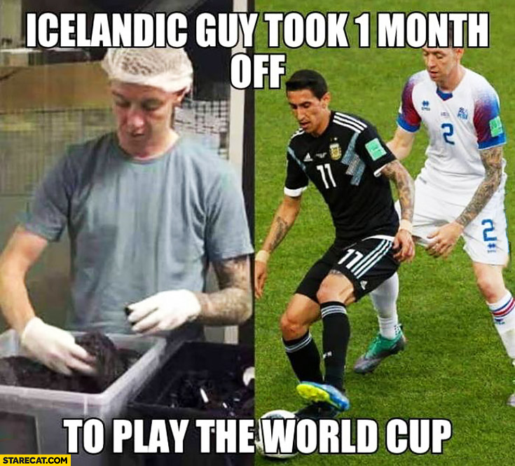 Icelandic guy took 1 month off to play the World Cup footballer