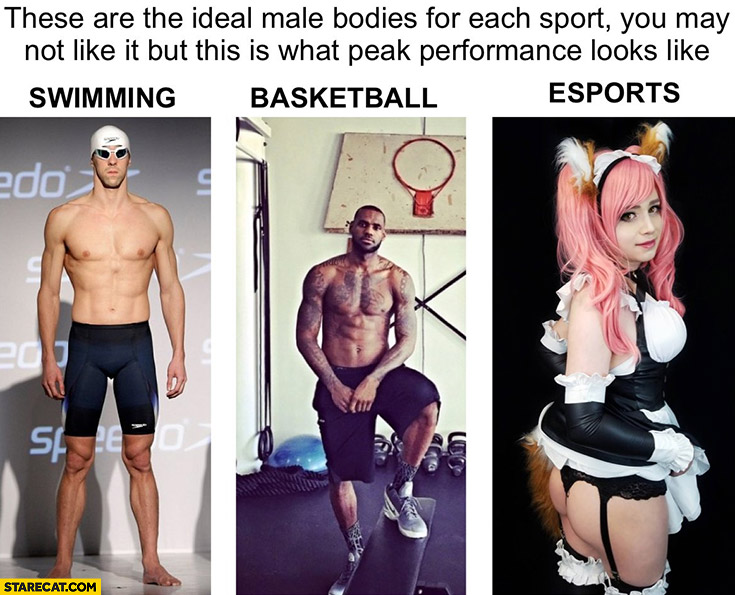 Ideal male bodies for each sport swimming, basketball, esports