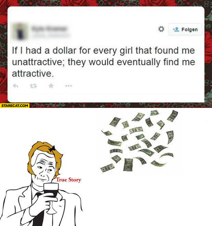 If I had a dollar for every girl that found me unattractive they would eventually find me attractive