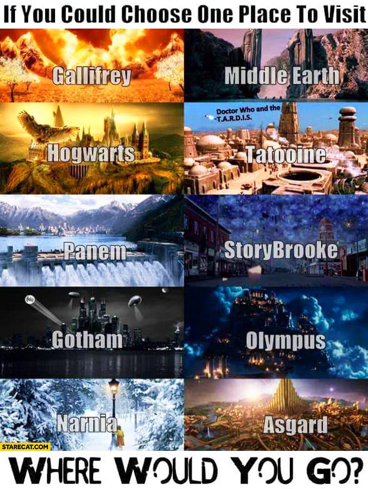 If you could choose one place where would you go? Gallifrey, Middle Earth, Hogwarts, Tatooine, Panem, Storybrooke, Gotham, Olympus, Narnia, Asgard
