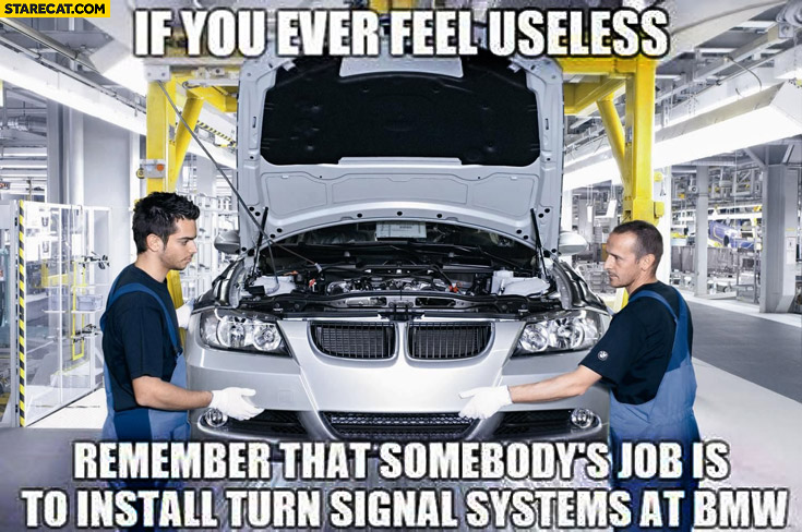 If you ever feel useless remember that somebody's job is to install turn signal systems at BMW indicators